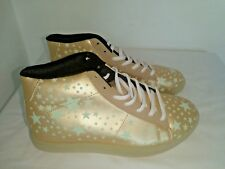 LADIES METALLIC GOLD/STARS HI-TOP TRAINERS WHITE LACES RUBBER SOLE CASUAL SIZE 5