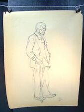 Old Man with Cane Sketch Original Pencil 1953 by C. Schattauer