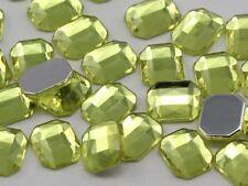10X8mm Yellow Jonquil A12 Flat Back Octagon Acrylic Gemstones - 70 PCS