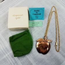 Vintage Coppercraft Guild Copper Apple Pendant & Chain Model 376 With Box