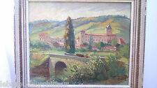 Peinture  Chateau et église de Camon ( Arriège). NÉRI Paul, 1910-1965 (France)