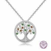 100% 925 Sterling Silver Tree of Life Design Topaz Gemstone Necklace Pendant !!