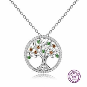 100% 925 Sterling Silver Tree of Life Gemstone Necklace Chain Pendant Wholesale