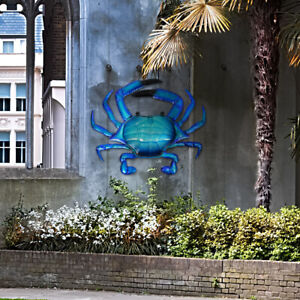 LIFFY Metal Blue Crab Wall Art Work for Home and Garden Decoration Outdoor