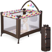 Baby Crib Foldable Playpen Portable Infant Travel Bassinet Cot Bed w/ Carry Bag