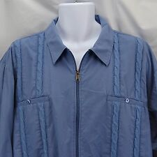 Men's Jacket Size 3X by Haband Cabana Style Lt. Blue Vertical Knitted Chain