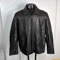 IZOD Soft Leather JACKET Mens Size XL Black zippered insulated