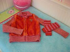 PAMPOLINA Kuscheljacke Kunstfell Strickärmel pink orange Gr. 140 TOP + STULPEN
