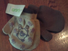 NWT Carter's boy 2pk of mittens tan w/dog & paw prints; brown w/grippers; 12-24m
