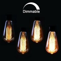 ST64 Edison Dimmable Vintage Teardrop Spiral Filament Light Bulb E27 /B22- 6Pack