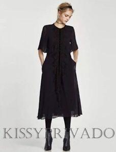 ZARA Navy Blue STUDIO Midi Dress with Black Lace Front Wide Sleeves L BNWT
