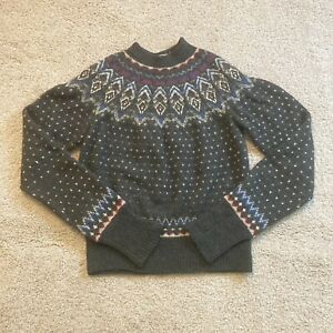 Vintage Nordic Fair Isle Wool Size Small Mens Adult Sweater Gray Icelandic Knit