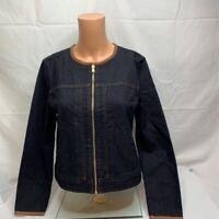 Lauren Ralph Lauren Womens Jean Jacket Blue Short Zip Up Leather Trim Crew S New