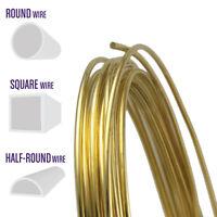 Yellow Brass Wire, Round, Half Round, Square, 10 12 14 16 18 20 21 22 24 Gauge