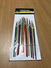 12 Pcs Brush Kit Oil Acrylic Watercolor Paint Artist Painting Brushes Set FREE P