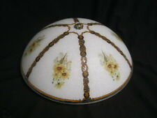 Vintage Light Fixture Textured Glass Floral Design Milk Glass/Clear 3 LIght