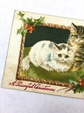 Vintage Christmas Postcard Kittens Cats Holly Embossed Text Printed Silk Fabric