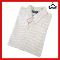 Ralph Lauren Mens Striped Cotton White Pink Shirt L Large Long Sleeve Buttondown