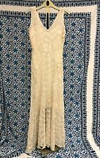 Antique Art Deco Cream Sheer Long Chiffon V Neck Dress With Leaf Embroidery A