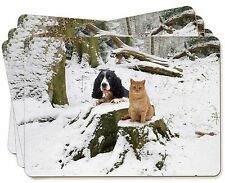 More details for cocker spaniel and cat snow scene picture placemats in gift box, ad-sc12p
