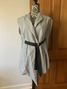 Morrison Cotton Linen Belted Vest 1-2 Lightweight Breathable AU 10 12