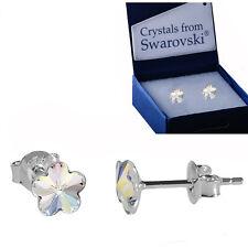 925 STERLING SILVER STUD EARRINGS FLOWER *CRYSTAL AB* Crystals from Swarovski®