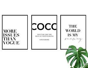 Set of 3 Coco Fashion Quote Poster Prints A4 Wall Art Home Decor Gift Idea