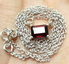 """Garnet Necklace sterling silver 925 length 16"""" approx Stone size 7 x 5 mm"""