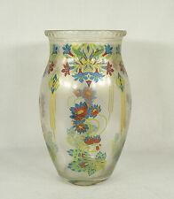 Art & Crafts Nouveau Glass Vase Lotus Flowers Gold Accents