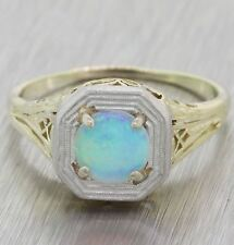 1930s Antique Art Deco Estate Solid 14k Yellow Gold 6.25mm Fire Opal Ring A8