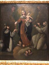 Antica Madonna, con Santi, Olio Su Tela del '700.