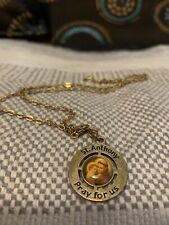 ST. ANTHONY  PRAY FOR US  NECKLACE      GOLD METAL CHAIN