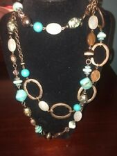 Brand New Premier Designs Jewelry St Lucia necklace Beads Aqua turquoise bronze