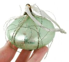 Vintage Green Metal Wire Glass Ball Christmas Ornament Holiday Decoration