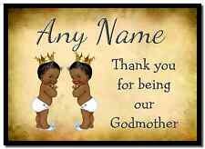 Vintage Baby Twin Black Boys Godmother Thank You  Personalised Placemat