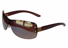 Sonnenbrille Damenbrille Gold Braun mit Strasssteinen Brille Monoglas 33