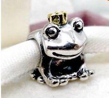 ORIGINALE 925 argento Sterling Charm Corona Rana Oro Perline