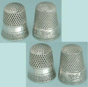 2 Antique Sterling Silver Thimbles *  American * Circa 1890-1900