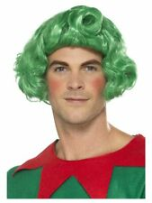 Men's Oompa-Loompa Green Fancy Dress Wig Elf Santa Mr Wonka Helper Stag Theme Do