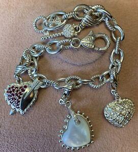 Judith Ripka Sterling Charm Bracelet W/4 Charms! Hearts & Key!