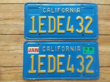 1970's 80's CALIFORNIA LICENSE PLATE SET  BLUE YELLOW PAIR 1ede432
