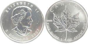 CANADA 1 oz 2007 - value 5 Dollars - Maple leaf - UNC - pure silver