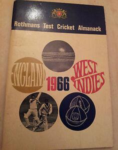 1966 Rothmans Test Cricket Almanack England v West Indies