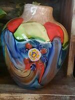 Murano Millefiori Fantasia Glass Vase 10 x 8 Wide & 8+ lbs.