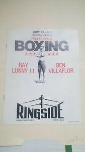 Vintage Boxing Program. Cow Palace, SF. Ray Lunny III v Ben Villaflor. 1974.