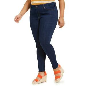 Celebrity Pink Womens Blue Solid High Rise Casual Skinny Jeans Plus 14 BHFO 8153