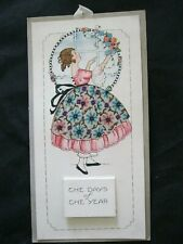 Vintage RARE 1923 COMPLETE Calendar Art Deco Girl PRETTY  Silk Fabric Dress  16