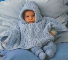 Knitting Pattern Baby/Child's Warm & Cosy Aran Cable Poncho 3-18 mths     (21)