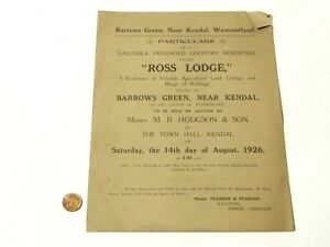 1926 Original Auction 1 page paper booklet  Ross Lodge Kendal BARROWS GREEN