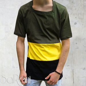 Men's Jersey Striped Yellow Green short Sleeves Cutting Large Crew-Neck